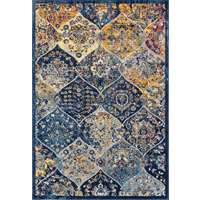 Manhattan Navy-Orange Damask Rectangular Accent Rug 2'x3'