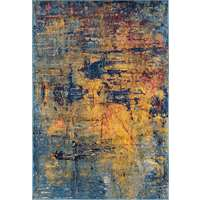 Manhattan Orange-Navy Abstract Rectangular Accent Rug 2'x3'