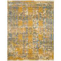 Sanya Yellow-Blue Bordered Rectangular Accent Rug 2'x3'