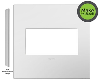 Legrand adorne Gloss White on White Backplate, 2-Gang Wall Plate AWP2GWHW10