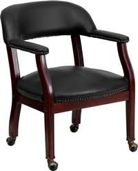 Black Vinyl Luxurious Conference Chair with Casters