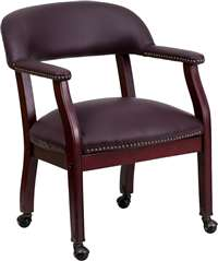 Burgundy Top Grain Leather Conference Chair with Casters
