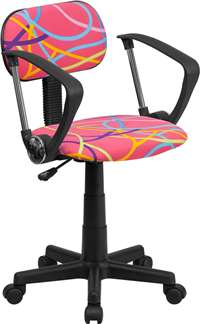 Multi-Colored Swirl Printed Pink Swivel Task Chair with Arms