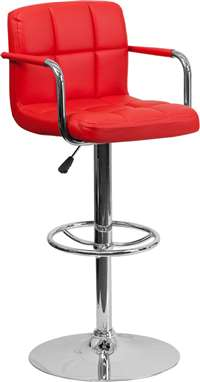 Contemporary Red Quilted Vinyl Adjustable Height Barstool
