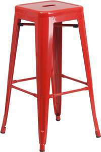 30'' High Backless Red Metal Indoor-Outdoor Barstool with Square Seat