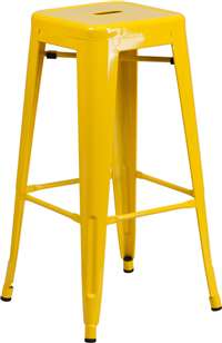 30'' High Backless Yellow Metal Indoor-Outdoor Barstool with Square Seat