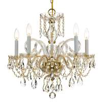 Crystorama Traditional Crystal 5 Light Spectra Crystal Brass Chandelier I