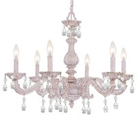 Crystorama Paris Market 6 LT Clear Swarovski Spectra Crystal White Chandelier - Antique White - 5036-AW-CL-SAQ