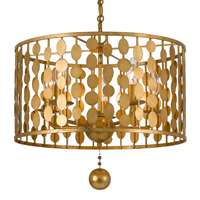 Crystorama Layla 5 Light Antique Gold Chandelier