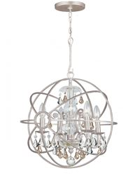 Crystorama Solaris 4 Light Golden Shadow Crystal Silver Mini Chandelier - Olde Silver - 9025-OS-GS-MWP