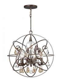 Crystorama Solaris 5 Light Gold Crystal Bronze Sphere Chandelier - English Bronze - 9026-EB-GS-MWP