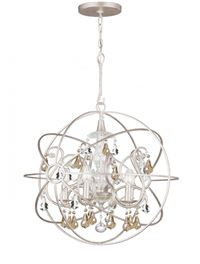 Crystorama Solaris 5 Light Gold Crystal Silver Sphere Chandelier - Olde Silver - 9026-OS-GS-MWP