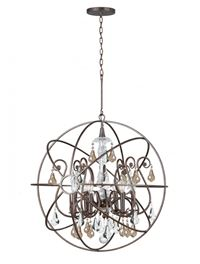 Crystorama Solaris 6 Light Gold Crystal Bronze Sphere Chandelier - English Bronze - 9028-EB-GS-MWP