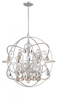 Crystorama Solaris 6 Light Gold Crystal Silver Sphere Chandelier - Olde Silver - 9028-OS-GS-MWP