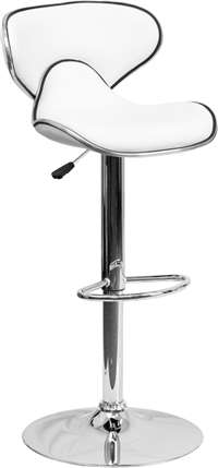 Contemporary Cozy Mid-Back White Vinyl Adjustable Height Barstool