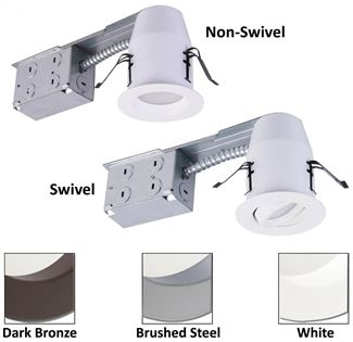 "American Lighting E-PRO 3"" REMODEL CAN & SWIVEL BS TRIM, 3000K, 6W, 340 LM Brushed Steel EP3S-RE-30-BS"