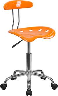 Vibrant Orange and Chrome Task Chair with Tractor Seat