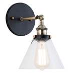 251 First Afton Matte Black, Bronze and Transparent Seven-Inch One-Light Wall Sconce