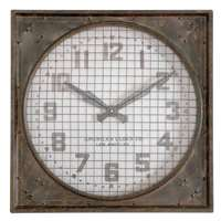 Uttermost Warehouse Wall Clock W/ Grill