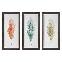 Uttermost Tricolor Leaves Abstract Art Set Of 3