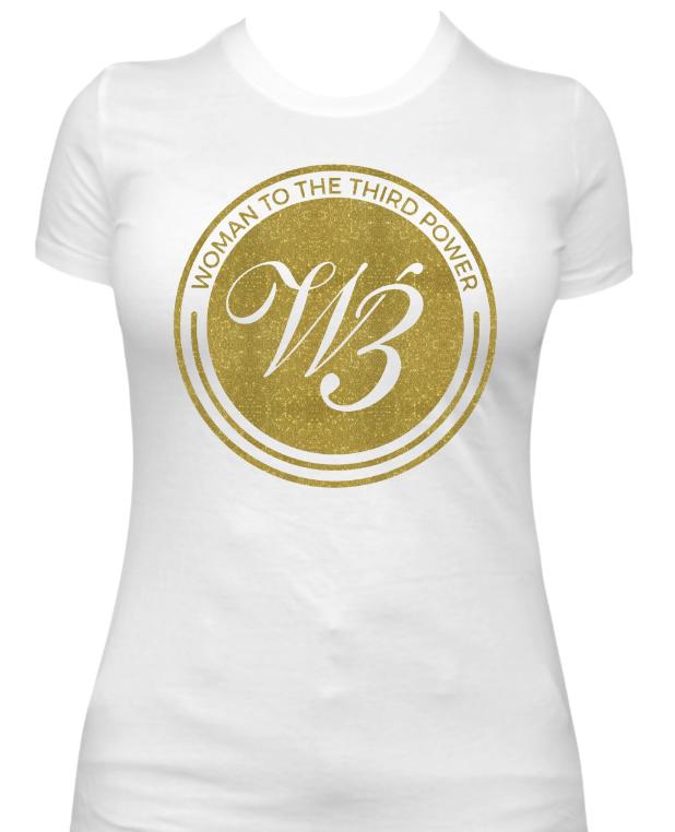 Women To The 3rd Power Gold Glitter T Shirt
