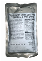 MRE Entree Southwest Style Beef and Black Beans with Sauce