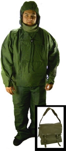 U.S. Military Surplus NBC (Nuclear, Biological and Chemical) Protective Suit + bag + inner & outer gloves (Size Medium)