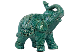 UTC10615 Ceramic Trumpeting Standing Elephant Figurine with Ceremonial Blanket Gloss Finish Teal