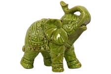 UTC10616 Ceramic Trumpeting Standing Elephant Figurine with Ceremonial Blanket Gloss Finish Lime Green