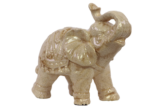 UTC10617 Ceramic Trumpeting Standing Elephant Figurine with Ceremonial Blanket Gloss Finish Beige