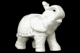UTC10625 Ceramic Trumpeting Standing Elephant Figurine with Ceremonial Blanket Gloss Finish White