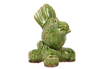 UTC10840 Ceramic Sulfur-Crested Cockatoo Bird Figurine on Branch Base Gloss Finish Lime Green