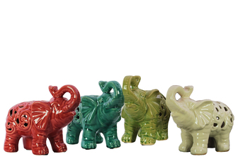 UTC10875-AST Ceramic Standing Trumpeting Elephant Figurines with Cutout Design Assortment of Four Assorted Color Gloss Finish (White, Red, Green and Turquoise)