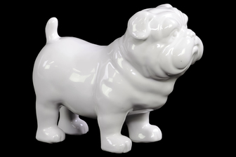 UTC10900 Ceramic Standing British Bulldog Figurine Gloss Finish White