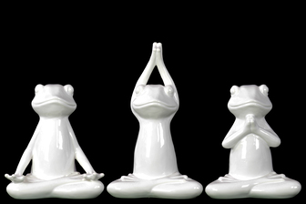UTC10901-AST Ceramic Frogs Figurine in Assorted Yoga Positions Assortment of Three Gloss Finish White
