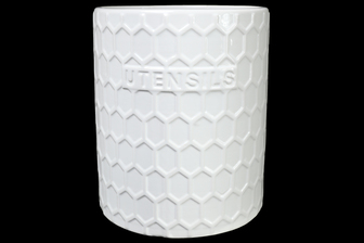 UTC10903 Ceramic Round Utensil Jar with Embossed UTENSILS Writing and Hexagon Pattern Design Body Gloss Finish White