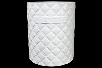 UTC10904 Ceramic Round Utensil Jar with Embossed UTENSILS Writing and Diamond Pattern Design Body Gloss Finish White