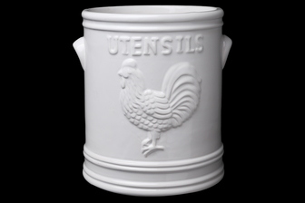 UTC10910 Ceramic Round Utensil Jar with Embossed UTENSILS and ROOSTER Design Coated Finish White