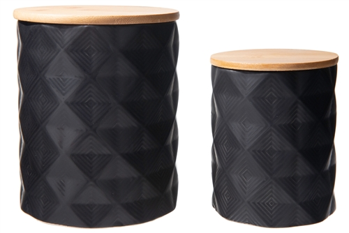 UTC10915 Ceramic Round Canister with Bamboo Lid and Pressed Diamond Pattern Design Body Set of Two Matte Finish Black