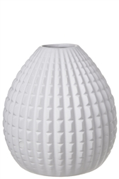 UTC10926 Ceramic Round Bellied Vase with Embossed Interval Line Pattern Matte Finish White