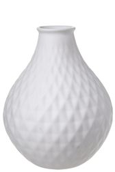 UTC10928 Ceramic Round Bellied Vase with Trumpet Mouth and Pressed Diamond Design Body Gloss Finish White