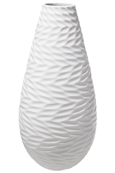 UTC10930 Ceramic Round Bellied Vase and Engraved Pattern Design Body Matte Finish White