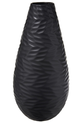 UTC10931 Ceramic Round Bellied Vase and Engraved Pattern Design Body Matte Finish Black