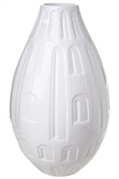 UTC10932 Ceramic Round Bellied Vase with Engraved Abstract Design Body Gloss Finish White