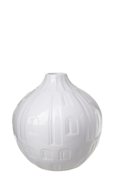 UTC10933 Ceramic Round Bellied Vase with Narrow Mouth and Engraved Abstract Design Body Gloss Finish White