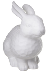 UTC10937 Ceramic Rabbit Figurine in Docking Position with Pressed Dotted Design Body Matte Finish White