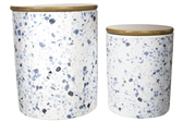 UTC10939 Ceramic Cylinder 56 oz. and 24 oz. Canister with Bamboo Lid and Printed Terrazzo Design Body Set of Two Gloss Finish White