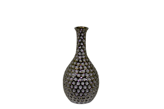 UTC11111 Ceramic Round Bellied Vase with Neck Dimpled Polished Chrome Finish Silver