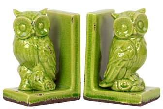 UTC11144 Stoneware Owl Figurine Perched on a Tree Branch Bookend Set of Two Distressed Gloss Finish Lime Green