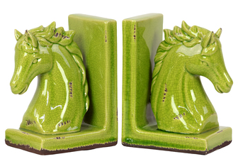 UTC11146 Stoneware Horse Head on Base Bookend Set of Two Distressed Gloss Finish Yellow Green